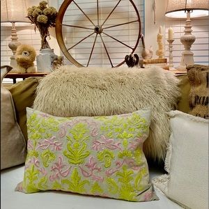 Embroidered Pink/Green Pillow/Cover & Pillow